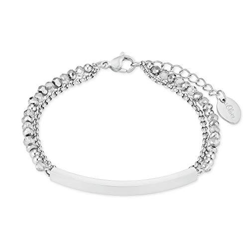 s.Oliver damesarmsieraad ID ID armband 20 cm roestvrij staal glazen stenen grijs zilver
