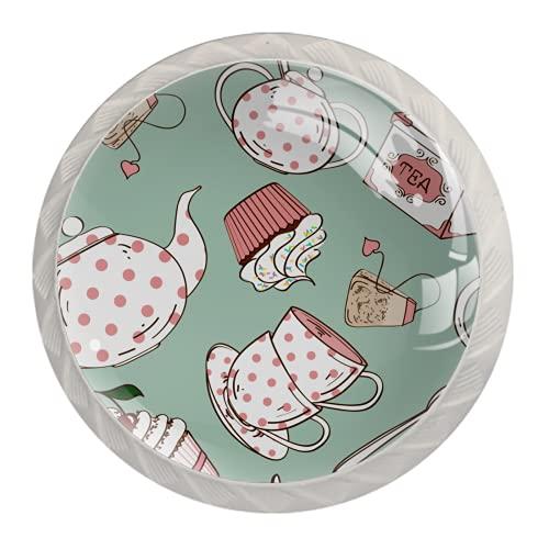 Manijas para cajones Perillas para gabinetes Perillas Redondas Paquete de 4 para armario, cajón, cómoda, cómoda, etc., Juego de té de lunares rosa blanco