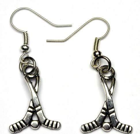 Silver Knight Tibetische Silber-Hockey-/Eishockey-Ohrringe mit Haken aus Sterlingsilber, in Geschenkbeutel