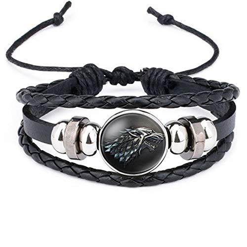 Pulsera Brazalete, Regalo De La Joyería, New Ethnic Brown Retro Leather Bracelets For Men Women Game of Thrones Multiple Layers Badge Charms Men Bangles Fashion 12012605 Adjustable