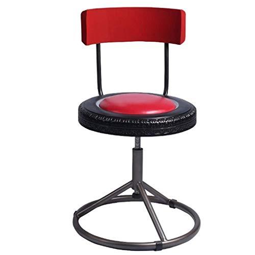 Barstühle Barhocker Hohe Hocker Mit Runder Fußstütze Retro Industrial Style Imitation Autoreifen Schwarz Rot (Farbe: B)