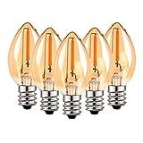 Bombilla de candelabro de filamento LED C7, vela Edison Vintage E14 (vidrio ámbar) Bombillas de luz LED, equivalente a 5W Bombillas 2200K blancas ultra cálidas, 50 lúmenes, no regulables, paquete de 5