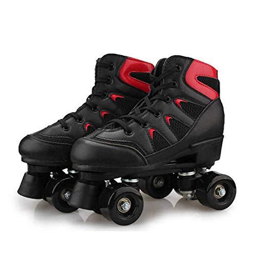 Rollschuhe Für Mädchen Rollerskates Damen Erwachsene Leder Atmungsaktiv Retro Design,Black-41