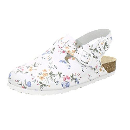 AFS-Schuhe 2940 Damen Berufsschuhe Medizin Berufsbekleidung Größe (41 EU, Weiss/Flower)