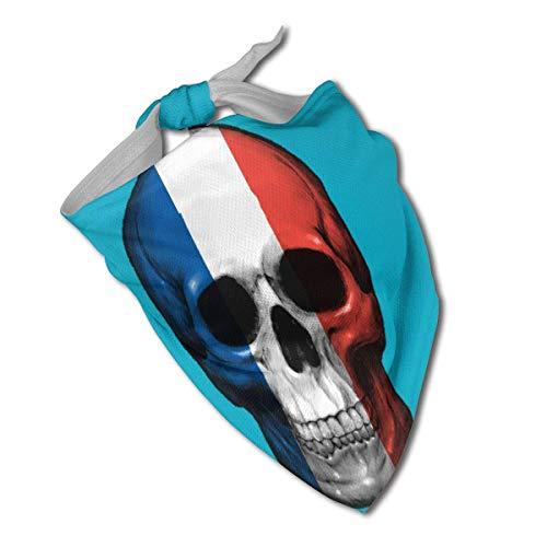 Bandana con diseño de calavera de la bandera francesa para perro, pañuelo triangular, bufandas, accesorios para mascotas, gatos y cachorros, toalla de saliva