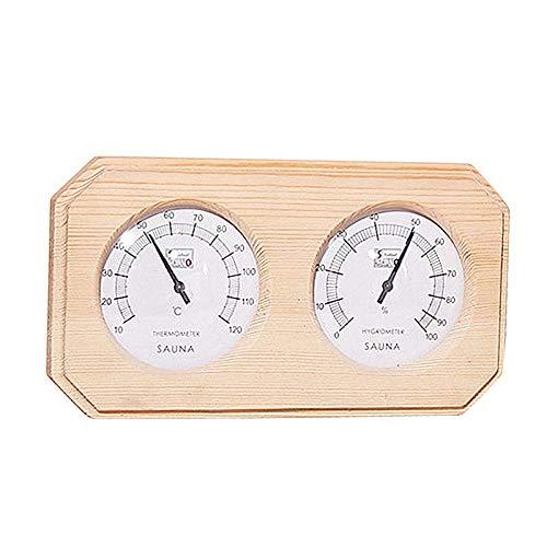 Xuebai Sauna Holzthermometer und Hygrometer Doppel Sauna Holz Hygrothermograph Thermometer und Hygrometer
