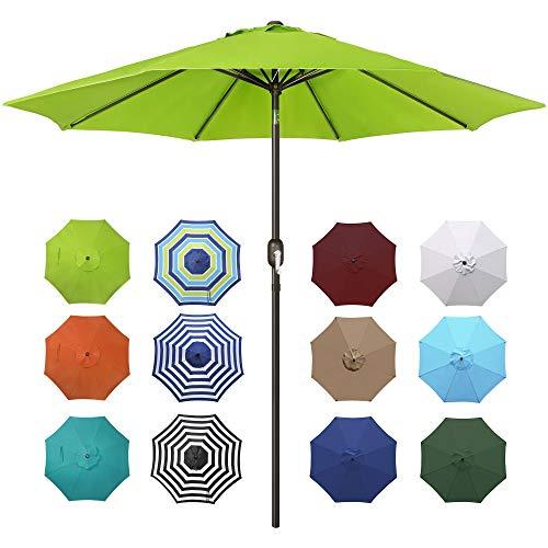 Blissun 9' Outdoor Aluminum Patio Umbrella, Market Striped...