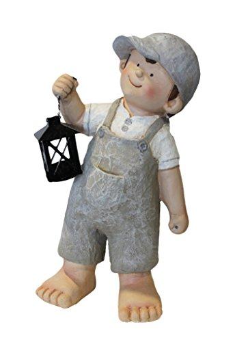 Keyhome Statuetta da Giardino Decorazione in Resina Bambino con Lanterna - Altezza cm 50