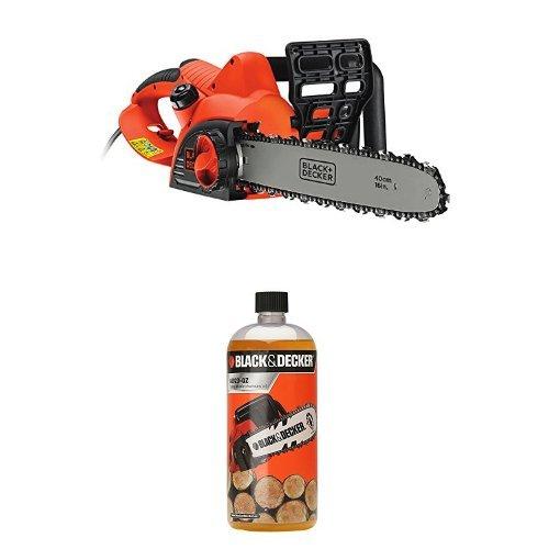 Black + Decker CS2040-GB 40 cm Chainsaw Corded, 2000 W, with 1L Chain Saw...