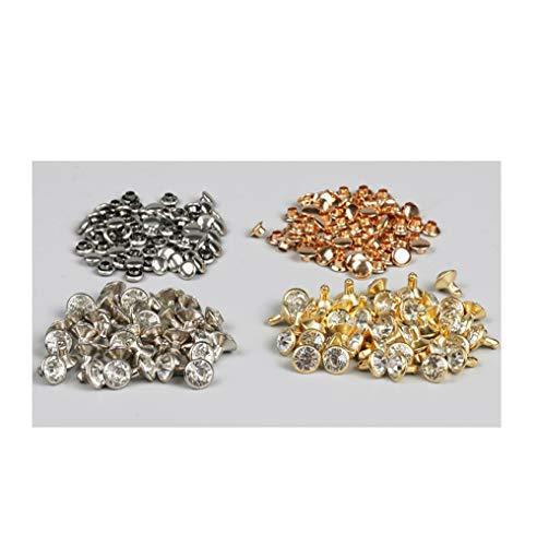 Hebilla de cristal del Rhinestone del remache de cobre Set-7#Silver Edge