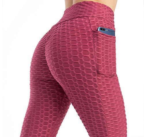 Leggings para Mujer con Bolsillo Leggins Mujer Alta Mujer Push Up Malla Celular Pantalón de Yoga Deportivos Leggings Anti-Celulitis Deportivos para Yoga Pilates Fitness Ropa Deportiva