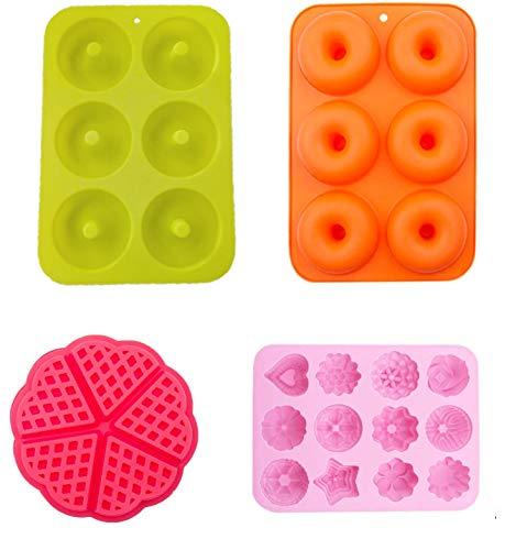 MEIbax 4 moldes de Silicona para Chocolate, Antiadherente Candy Protein y Energy Bar Molde Bandeja para Hornear Molde de Torta moldes para Cubitos de Hielo