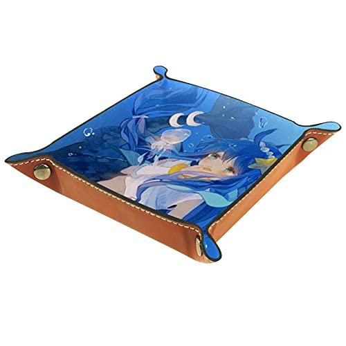 Plateau de dés plateau de roulement de dés support de plateau de rangement plateau de dés pour RPG DND jeux de Table plateau de dés Anime Blue Mermaid Girl 01 16x16cm