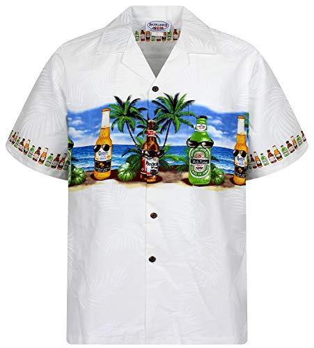 P.L.A. Original Camicia Hawaiana, Corona Chest Pressure, bianco 2XL
