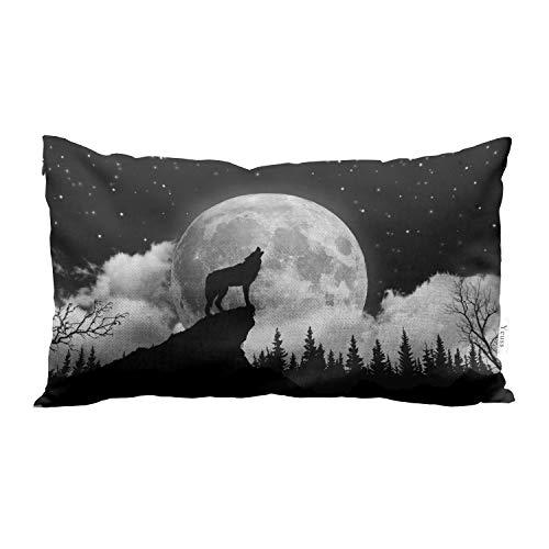 Yeuss Funda de cojín rectangular de lino y algodón con diseño de lobo y aullando en la luna, para sofá o cama, para hombre o mujer, 30,5 x 50,8 cm, color blanco y negro