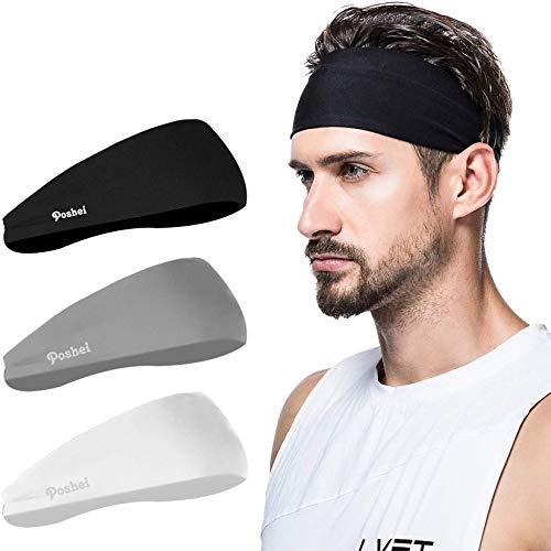 poshei Mens Headband, Mens Sweatband & Sports Headband for Running,Cycling, Yoga, Basketball - Stretchy Moisture Wicking Unisex Hairband, Black/White/Grey, Large