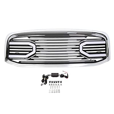 ECOTRIC Front Big Horn Grille Replacement Shell Compatible with 2006 2007 2008 2009 Dodge RAM 1500 2500 3500(W/Light, Chrome)