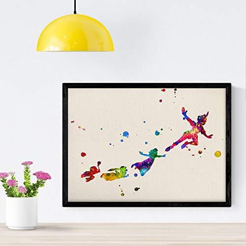 Nacnic Poster Imagen de Peter Pan Volando con Amigos. Posters con diseño Acuarela de películas y Cine.Imágenes del Cine y filmes para decoración de Interiores. Tamaño A4 con Marco