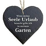 Homeyourself Herz Schieferherz Schiefer Schieferschild 10 x 10 cm Mein Garten ist frisierte Natur schwarz Dekoschild Wandschild Schild Stein Geschenk