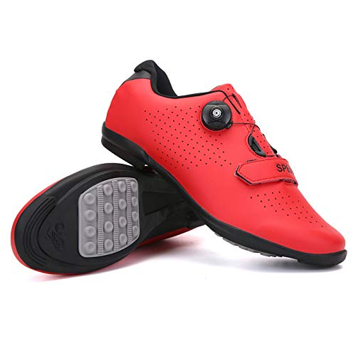 JINFAN Zapatillas De Ciclismo Zapatillas De Bicicleta De Carretera Ligeras Profesionales Zapatillas De Carreras Atléticas De Bicicleta De Montaña para Adultos,Red-44EU=(270mm)