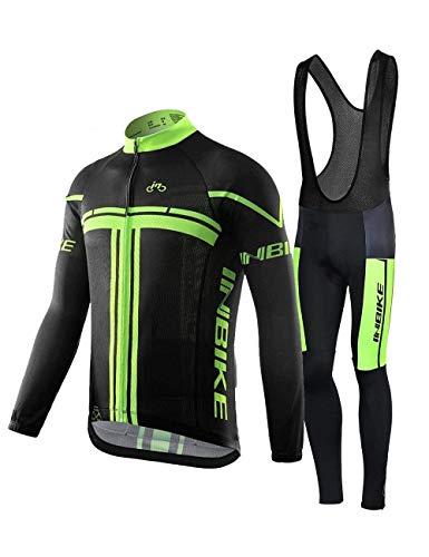 INBIKE Maillot Vélo Manches Longues + Pantalon Cuissard VTT 3D Coussin Rembourré Gel A Bretelle Tenue Cyclisme Confort Homme Printemps Automne(Bretelle,M)
