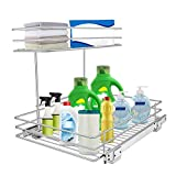 Pull Out Under Sink Cabinet Organizer, Tksrn 2 Tier Slide Wire Shelf Basket - 11.49W x 17.08D x 11.85H - Request at Least 12 inch Cabinet Opening