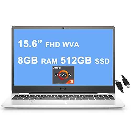 "Dell 2021 Flagship Inspiron 3000 3505 15 Laptop 15.6"" FHD WVA Narrow Border Display AMD Ryzen 3 3250U Processor (>i7-7600u) 8GB RAM 512GB SSD AMD Radeon Graphics Win10 Snow White + iCarp HDMI Cable"