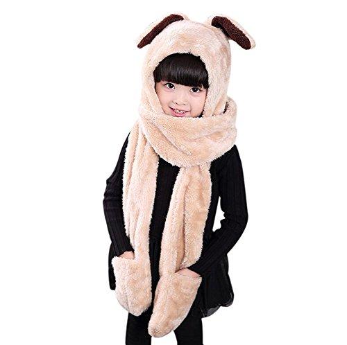 Fablcrew Kids Cartoon Sciarpe Hat Gloves, Morbido Caldo Adorabile Natale Rabbit Cappello Hood Warm Cappelli con orecchie, Tasca, Sciarpa, Beige