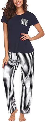 Pijama Mujer De 2 Piezas con Manga Corta Pantalon Largo Ropa De Dormir Algodón Nightwear Elegante Camisetas + Pantalones (Azul, XXL)
