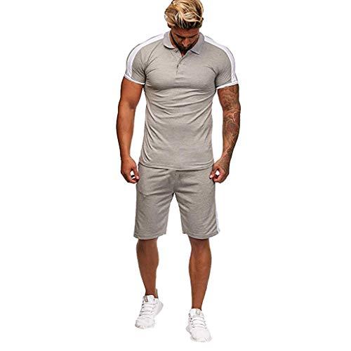 CICIYONER Trainingsanzug Herren Jogginganzug Muscle Sweatshirt + Hosen Sport Tarnung Tankshirt Sets Sportkleidung Männer Fitness Bodybuilding M-XXXL (XL, Grau)