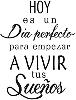 BooDecal Spanish Quote Wall Decals Hoy ES Un Dia Empezar a Vivir Tus Suenos Peel and Stick Wall Stickers for Bedroom Living Room 17 inches x 24 inches