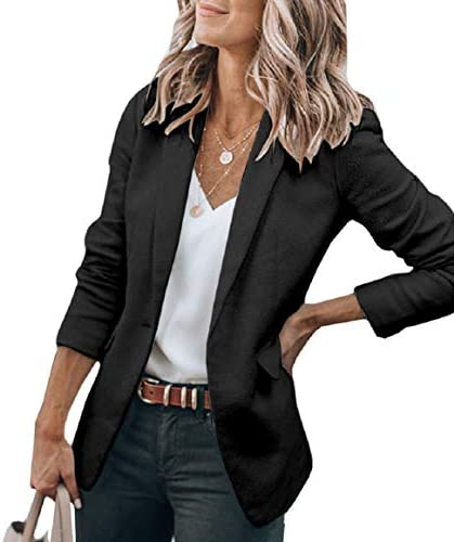Cicy Bell Womens Casual Jackets Open Front Long Sleeve Work Office Outerwear Coats Blazer Black product image