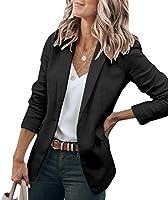 Cicy Bell Womens Casual Blazers Open Front Long Sleeve Work Office Jackets Blazer (Z-Purple, Medium)