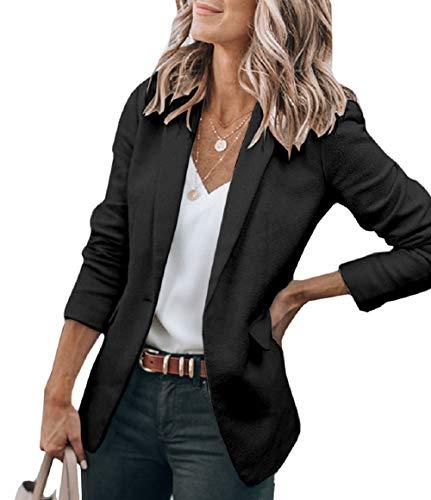 Beyove Women's Solid Stretch 3/4 Gathered Sleeve Open Blazer Jacket Black L