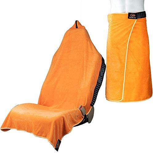 Orange Mud 3in1 Transition Wrap 2.0, Sporthandtuch + Autositz-Cover + Umzieh-Hilfe, Farbe orange