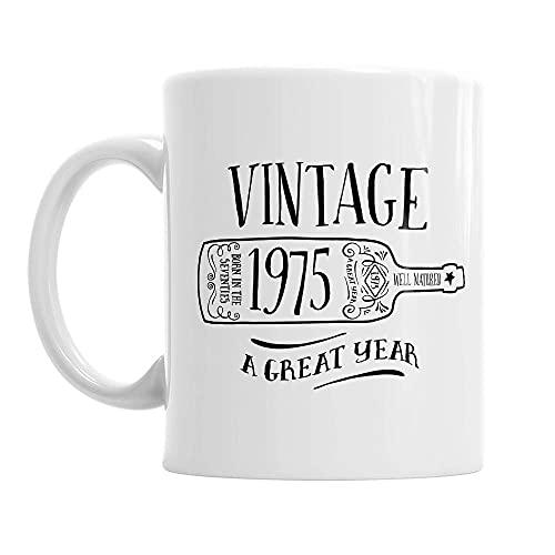 Taza de café con diseño de vino vintage, regalo de 45 años, regalo para hombres, mujeres, fantástico recuerdo de cumpleaños
