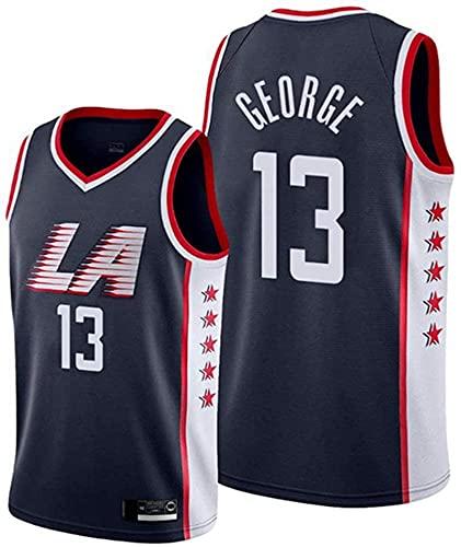 paglutaw Custom George Basketball Clipper T-shirts Moda sportswear NO.13 negro para los hombres