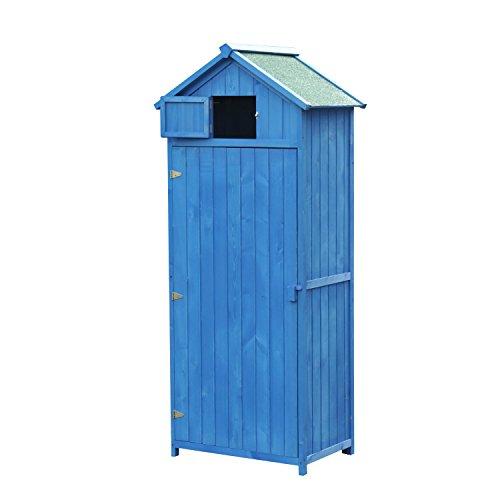 Outsunny Gerätehaus aus Holz für Garten Schuppen und Lager für Gartenwerkzeug 77x 54,2x 179cm blau