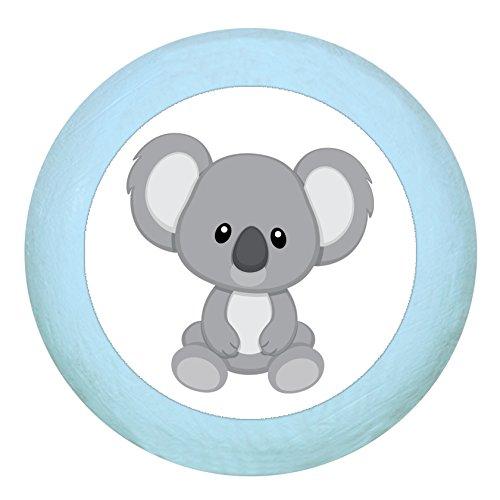 "Holz Buchegriff""Koala"" hellblau zartblau pastellblau pastell Holz Buche Kinder Kinderzimmer 1 Stück wilde Tiere Zootiere Dschungeltiere Traum Kind"