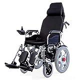 Silla de ruedas electrica Plegable reclinable multifunción eléctrica Manual, Silla de Ruedas de Doble Motor con Joystick de 360 °