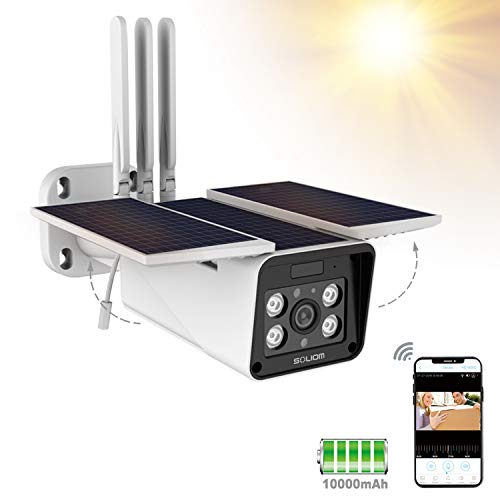Outdoor Home Security Solar Battery Camera, Soliom S90 Pro 1080P Wireless Smart IP Cam with Night Vision, Two Way Audio and Accurate Motion Detection,Monitor with iOS, Android App - No Monthly Fee.