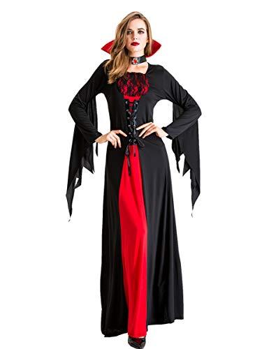 LATH.PIN - Disfraz de vampiro para disfraz de Halloween Negro  XL