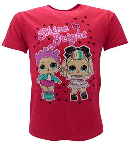 LOL Surprise! T-Shirt Originale Maglietta Ufficiale Bambina Glitter DJ Fucsia o Bianca L.O.L. (Fucsia, 7-8 Anni)