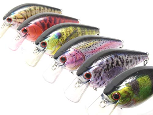 wLure Minnow Crankbait for Bass Fishing Bass Lure Fishing Lure (HC25KB3, with Tackle Box)