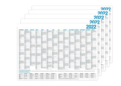 5er SET Wandkalender 2022/2023 - DIN A4 quer - Tafelkalender, Jahresplaner, Jahreskalender & Feiertage