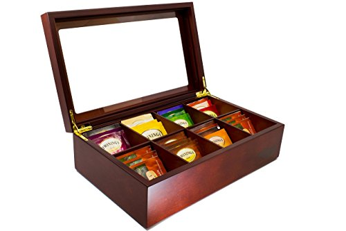 The Bamboo Leaf Wooden Tea Storage Chest Box with 8 Compartments and...