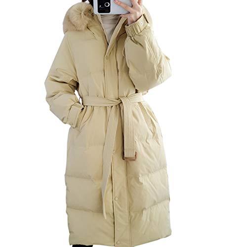 Abrigo de invierno cálido para mujer con capucha gruesa y acolchada, chaqueta larga espesada para mujer, capucha de color contraste, talla S