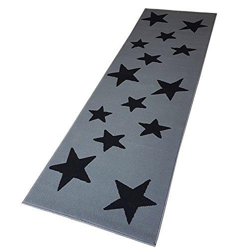 Moderner Läufer Teppich Brücke Teppichläufer Sterne Stars ca. 80x250 cm, Größe:80x250 cm, Farbe:grau/schwarz