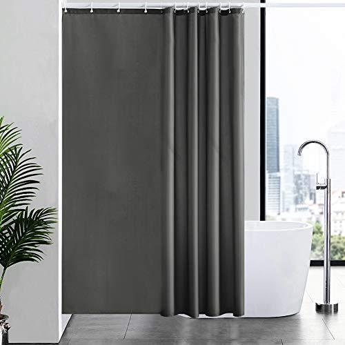 Furlinic 180x180 Duschvorhang Anti-schimmel in Badezimmer Vorhang für Badewanne Dusche, Textile Vorhänge aus Stoff Wasserdicht Waschbar, mit 12 Duschvorhangringe Dunkelgrau.
