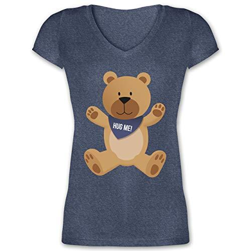 Valentinstag - Kleiner Bär Hug me - 3XL - Dunkelblau meliert - Fun - XO1525 - Damen T-Shirt mit V-Ausschnitt